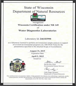 Wisconsin Certified Water Testing Laboratory